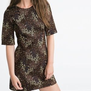 Zara Floral Jacquard Dress
